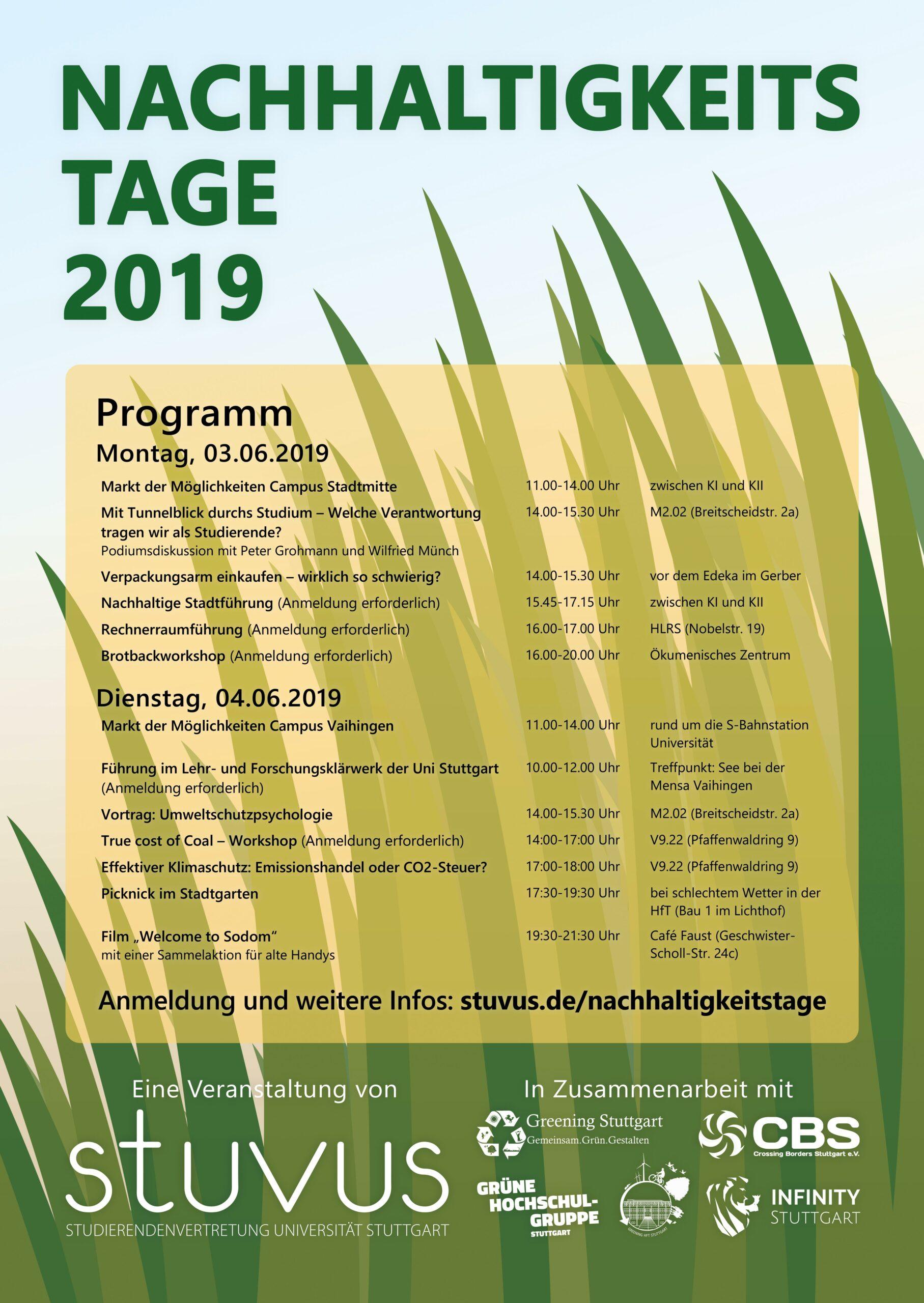 Plakat Nachhaltigkeitstage 2019